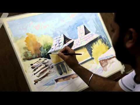Watercolor Kinnaur Landscape by Artist Sikander Singh Chandigarh (INDIA)
