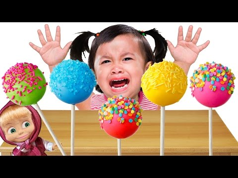 Bad Baby crying & learn Colors with Cake Pops - Colors Song Nursery Rhymes