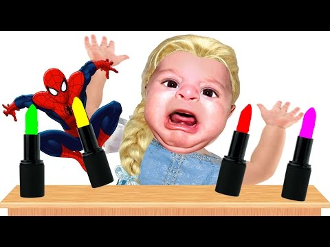 Bad Baby crying and learn colors Lipsticks and Make up Spiderman Finger Family Song Collecti