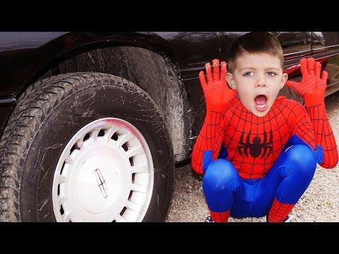 FREAKY JOKER Crushes SpiderBaby BLAZE Monster Machines Toy Under Car w/ Spiderman, Hulk in Real Life