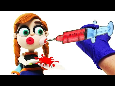 Frozen Elsa Anna Play Doh Clay Animation Sweet Lollipop Tooth Ache Doctor Injection