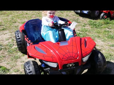 Unboxing New Spiderman Battery-Powered Ride On Super Car 12V Baby Spiderman, Frozen