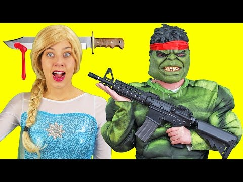 Frozen Elsa HEAD KNIFE SWAT Spiderman RAMBO Hulk! w/ Maleficent FUN IRL Superhero in Real Life