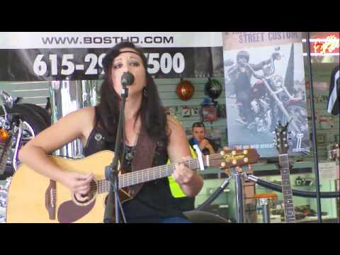 Amanda Nagurney playing at Bost Harley Davidson for the NashvilleEar.com Songwriter Stage