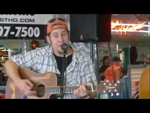 Joel Shewmake performing at Bost Harley Davidson for the NashvilleEar.com Songwriter Stage