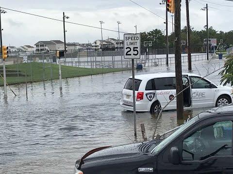 Heavy Rain Causes Flooding In Wildwood