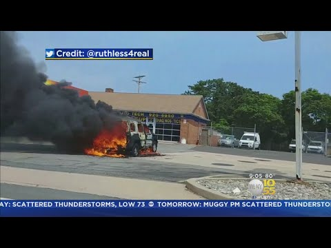 Woman's Truck Bursts Into Flames In Brick NJ