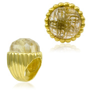 18K Gold over Sterling Silver Designer Shell Ring with 24mm Faceted Rutilated Quartz - SS-2000YRQ