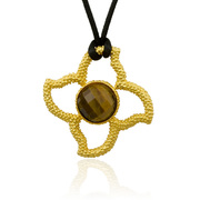 "18K Gold over Sterling Silver Stones in Stars Pendant with 16mm Faceted Tiger's Eye on 30"" Silk Cord -SS-4008YTE"