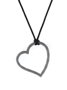 """Oxidized Sterling Silver Open Beaded Designer Heart Pendant on a 30"""" silk cord - SS-4010XD"""