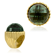 18K Gold over Sterling Silver Designer Shell Ring with 24mm Faceted Green Mint Quartz - SS-2000YGQ