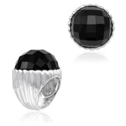 Sterling Silver Designer Shell Ring with 24mm Faceted Black Onyx - SS-2000FOX