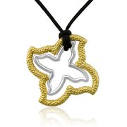 "Sterling Silver Open Beaded & 18K Gold Plated Smooth Starfish Designer Pendants on 30"" black silk cord - SS-4007YS"