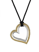 18K Gold over Sterling Silver Aya Azrielant Signature  Heart Pendant -SS-4012YS