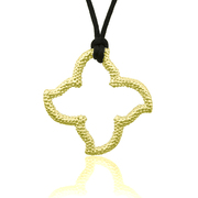 "18K Gold over Sterling Silver Open Beaded Starfish Designer Pendant on a 30"" silk cord - SS-4005CY"
