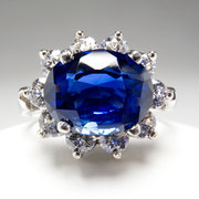 NATURAL BLUE SAPPHIRE & DIAMOND RING SOLID PLATINUM