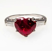 ESTATE HEART RUBY & BAGUETTE DIAMOND ENGAGEMENT RING SOLID PLATINUM