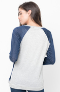 Shop for Navy Color Block Two Tone Pullover Lightweight Crew Neck On -Caralase