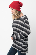 Shop for Black Hi Lo Long Sleeve Dolman Striped Sweater Tunic on @Caralase