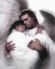 sendo carregado pelo anjo