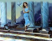 mulher na porta do templo