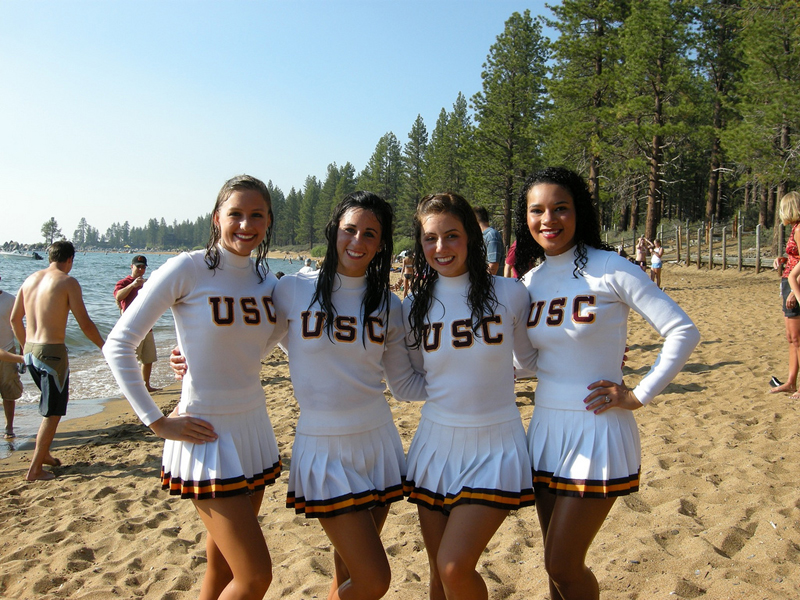 USC Cheerleaders Pose For the Camera