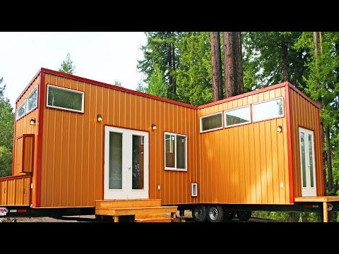 Stunning Two Tiny Houses on Wheels PERMANENTLY Joined Together to Make a Bigger Tiny Home