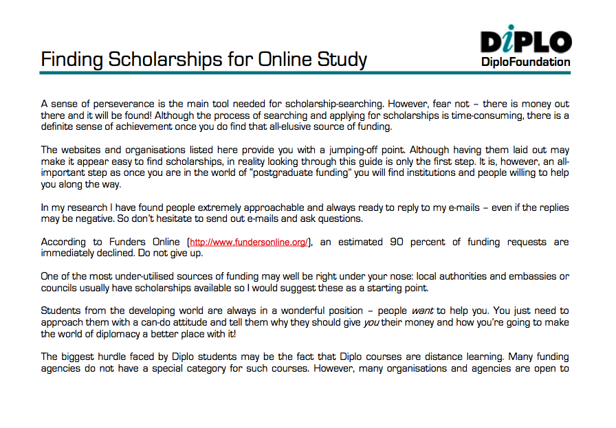 Finding scholarships for online study - Diplo Internet