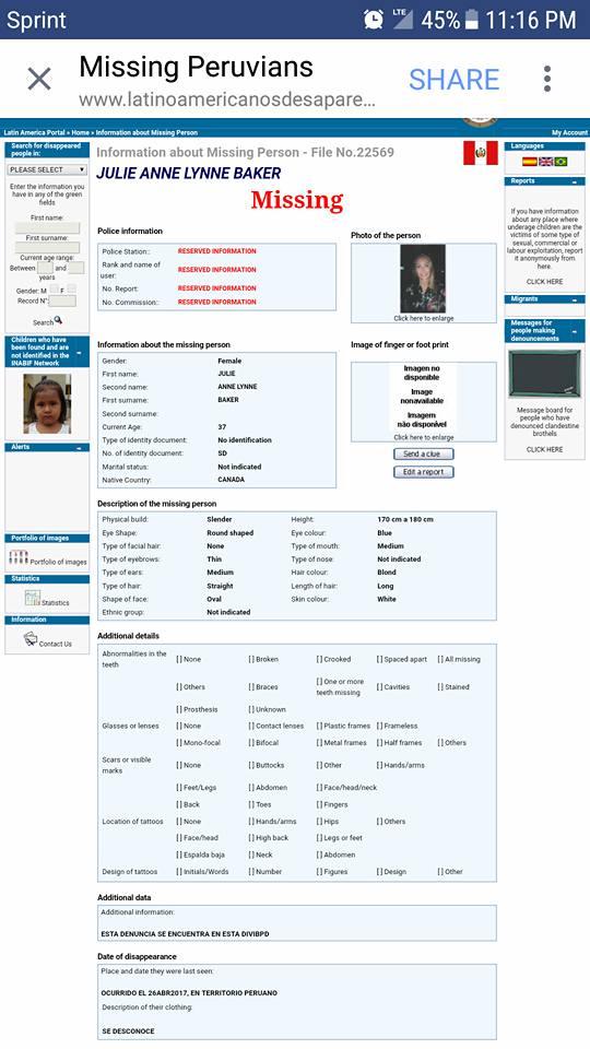 Peru missing report