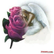 Angel with Purple Roses