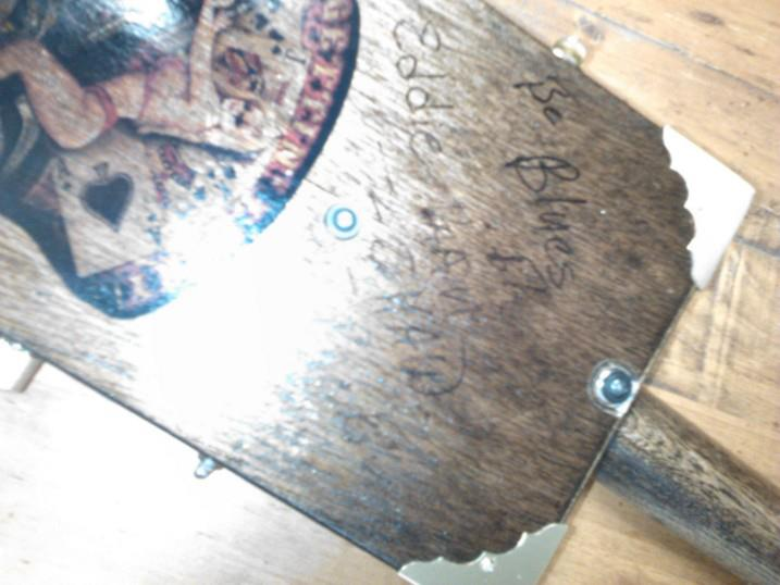 Backside of Stogie's Autograph Cigarbox Guitar