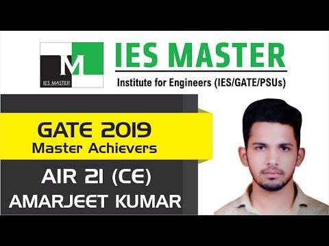 GATE 2019 Topper  Amarjeet Kumar AIR 21 CE  IES Master Student