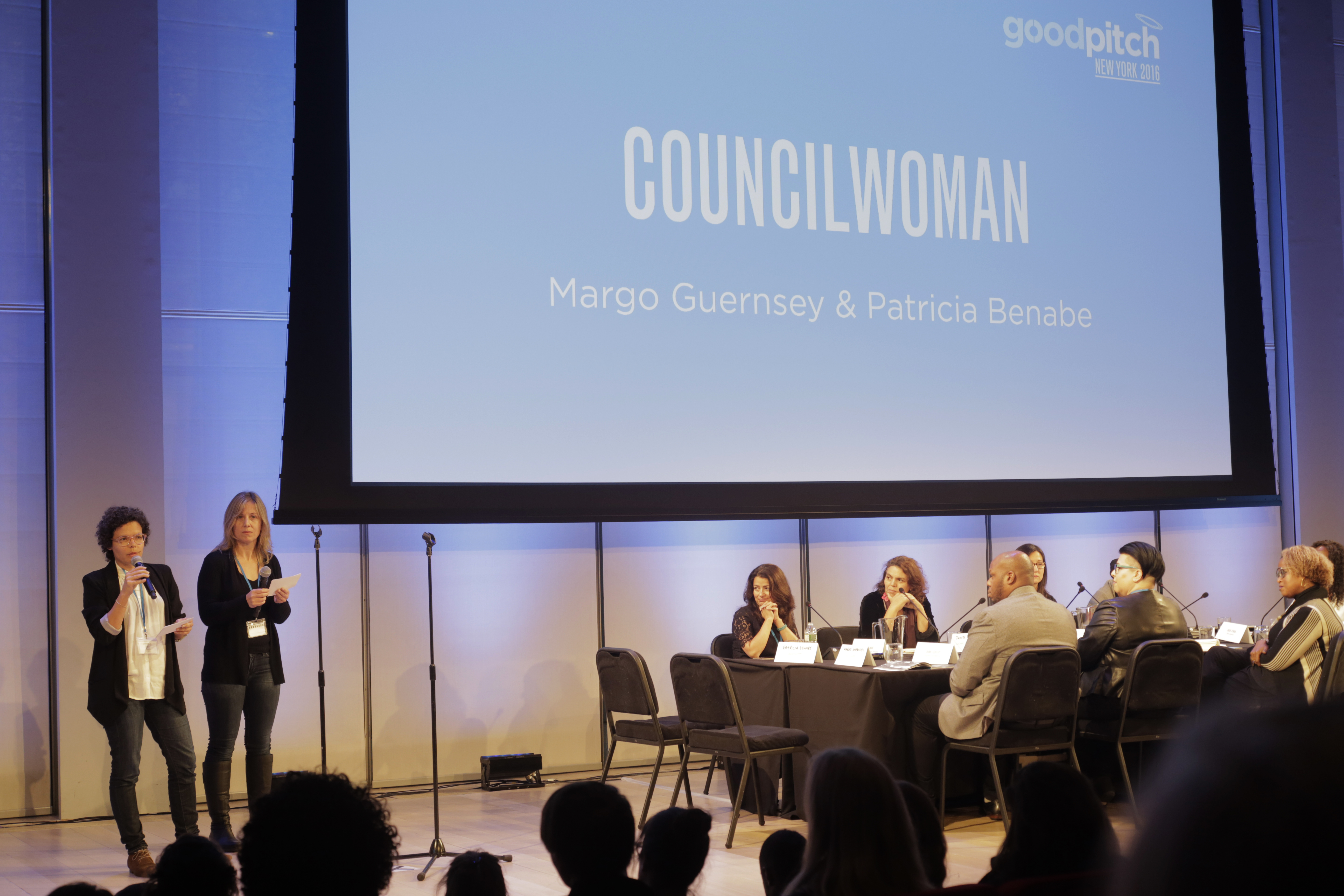 Pitch Time! COUNCILWOMAN film team pitches at Britdoc's GoodPitch NYC 2016