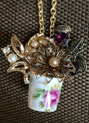 Vintage Floral Thimble with Flowers Pendant