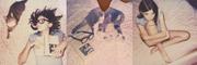 Composizione con sorella, gatta, Lolita e polaroid.