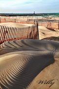 Ludington's stearns beach sand fences