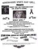 BENEFIT RIDE AND FUNDRAISER FOR JEANETTE CUSHING