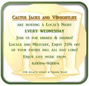 Locals Night At Cactus Jacks with 25% off Food & Drink - Steve Forss + FREE Tickets to House of Blues & Brews at MOCA Sunday!