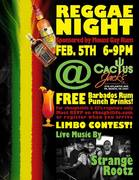 Your First Drink FREE TONIGHT sponsored by Mount Gay Rum and Cointreau Noir at our Reggae Night At Cactus Jacks featuring Strange Rootz and 25% off your Food and Drink