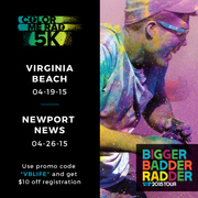 VBhotdeal for COLOR ME RAD 5K Virginia Beach and Newport News