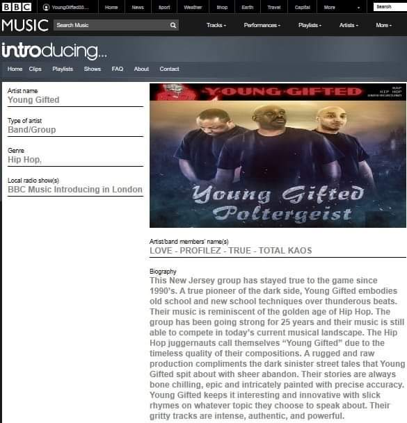BBC MUSIC IS FEATURING YOUNG GIFTED POLTERGEIST