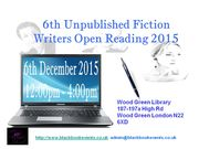 6th Unpublished Fiction Writers Open Reading 2015