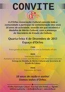 FESTAS: 18º Aniversário d'Orfeu - cerimónia de entrega da Medalha de Mérito Cultural