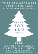 Special lunch for the Senior Citizens of N8 - Earl Haig - Tues 9th