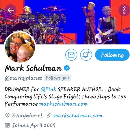 "MARK SCHULMAN... DRUMMER FOR ARTIST ""PINK"" YOUR SUPPORT IS OUT OF THIS WORLD!! #YOUNGGIFTED3000"