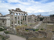 Forum - looking at the Temple of Saturn from the Capitoline Hill