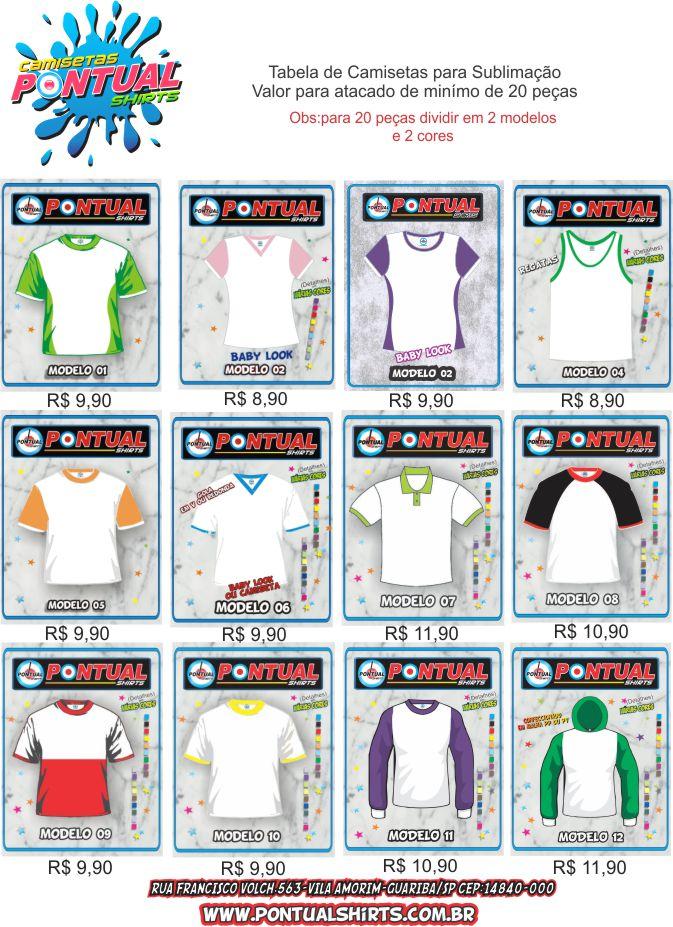 tabela e modelos pontualshirts 2013