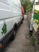 Van owners take great care to obstruct pedestrian and buggy access around the park