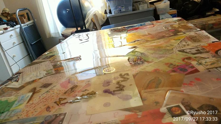 Mail Art encased in resin for desktop