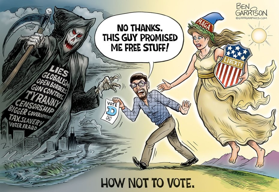 Ben Garrison Cartoons --- How NOT to #Vote Reminder, The right decision is the one that supports our Republic..  #ElectionEve #BenGarrison #Midterms2018   #RedWaveTSUNAMI2018
